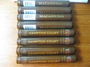 "8 BROWN MACANUDO HAMPTON COURT EMPTY CIGAR TUBES 5 5/8"" LONG CRAFTS STORAGE B"