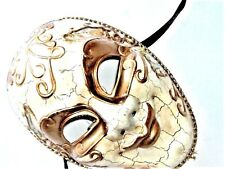 VENETIAN MASQUERADE GENTS FULL FACE CREAM CRACKLE JESTER MASK WITH VENICE PICS