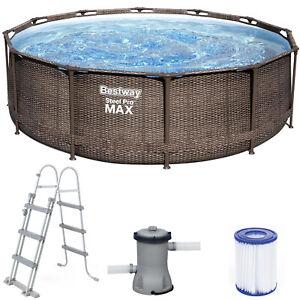 BESTWAY STEEL PRO MAX 366cm x 100cm - Schwimmbecken mit Filterpumpe Rattan-Optik