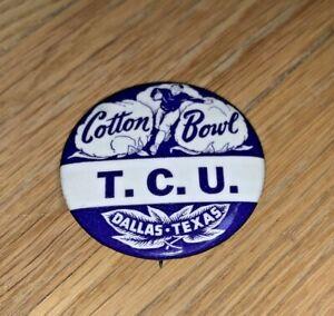 Vintage COTTON BOWL Button T.C.U. / HORNED FROGS - Excellent - TCU