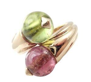 Vintage Bulgari Bvlgari 18k Yellow Gold Pink + Green Tourmaline Bypass Ring