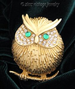 Vintage Modernist ERWIN PEARL Gold plated OWL Green rhinestone PIN brooch signed