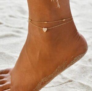 Fußkettchen Set Herz Fusskette Silber Gold Damen Armband Fußschmuck Geschenk 2St