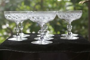 Vintage, American, Crystal Needle Etched Champagnes (6)
