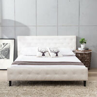 Queen Size Metal Bed Frame with Upholstered Platform Button Tufted Bedroom White