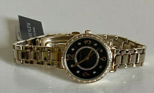 NEW ANNE KLEIN AK SWAROVSKI CRYSTALS ACCENTED BLACK DIAL GOLD BRACELET WATCH $85