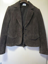 A WOMENS LOVELY BROWN  REAL LEATHER  JACKET   SIZE 14  BUTTON FASTENER