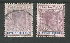 BAHAMAS 2 DIFFERENT SHADES OF  GVI  5/-s FINE USED SEE SCAN