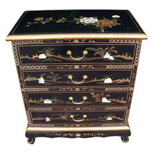 MOTHER OF PEARL ORIENTAL FURNITURE - BLACK LACQUER CHEST OF 4 DRAWERS