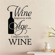 Wine Improves With Age I Improve Winebottle Quote Wall Sticker Bar Kitchen Decor