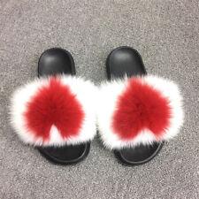 Women's Luxury Real Fox Fur W Heart Sliders Slides Slippers Sandals Shoes
