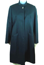 Hugo Boss Car Coat Womens Size 14 Button Front Long Sleeves Teal Green Lined