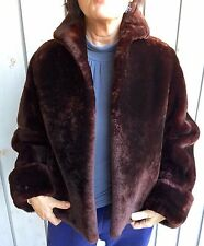 Womens VTG 40s 50s MOUTON LAMB JACKET Sml Chocolate brown Luxurious thick fur