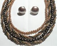 Beautiful Vtg 4 Strand Brown Glass Pearl Beaded Necklace & Screw Earings