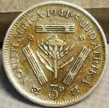 1941 South Africa 3 Pence Silver Coin King George VI WWII