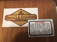 Briggs & Stratton old repro 1949 - 62 engine & B&S air filter decal set of 2