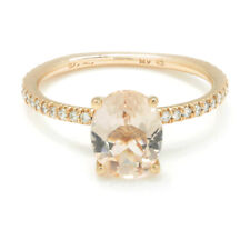 Oval Morganite Ring with Pave Diamonds 14K Rose Gold 1.74ctw