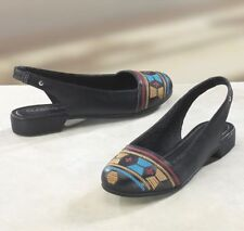 NEW WOMENS CLASSIQUE BLACK SOUTHWESTERN EMBROIDERED SLINGBACK SHOES SIZE 9.5 M