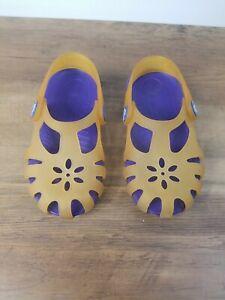 Crocs Toddler Girl Translucent Yellow And Purple Sling Back Cutout Sandal C9