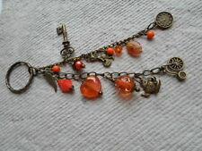 Handmade Handbag Charm ~ Antique Bronze and Orange