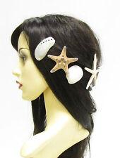 6 x Real Starfish & Sea Shell Hair Clips Mermaid Crown Cream Star Fish Ariel 811