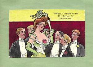 GENTLEMEN ADIMIRE SEXY LADY On Colorful COMIC Vintage Postcard