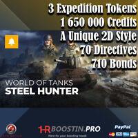 World of Tanks WoT | STEEL HUNTER 2020 | 15 tier = 3 Tokens | Not Bonus Code