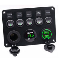 5 Gang ON-OFF Toggle Switch Control Panel Dual USB 12V RV Auto Car Truck Boat