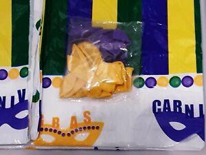 Mardi Gras Plastic Tablecloth & 20 Balloons 10 Yellow 10 Purple