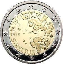 * LOT DE 5 PIÈCES -- 2 € COMM - UNC - FINLANDE 2015 - J. SIBELIUS