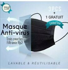 Masque de protection réutilisable noir  3couches filtrantes 3pcs / ENVOIS 24H