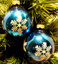 VINTAGE SET OF 2 STENCILED MERCURY GLASS CHRISTMAS ORNAMENT MADE IN USA A6