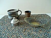 "Vintage Mixed Lot Of 4 Brass ? / Silverplate ? Items "" GREAT COLLECTIBLE LOT """