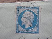 TIMBRE napoleon N°14  type1  bleu sur azur SUR ENVELOPPE avec cachet cire blason