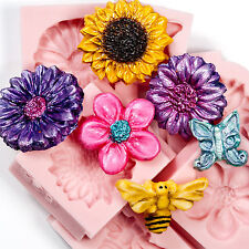 Six Silicone Mold Mould set Flower Butterfly Bumble Bee Flexible Molds  (231)