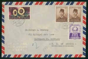 Mayfairstamps Indonesia 1960s to Baltimore MD Airmail cover wwo1753