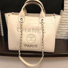 CHANEL Deauville Tote Chain Shoulder Bag Off White Caviar Leather Auth New w Box