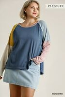 Umgee Indigo Mix Color Block Long Sleeve Knit Top Plus Size XL 1XL 2XL