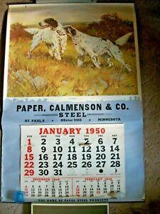 "LARGE Vtg 1950 Calendar with Hunting Dog Print ""Up Ahead""  Paper Calmenson Co"