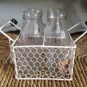 Vintage 4 Traditional MinI Milk Bottles In Cream Chicken Wire Basket