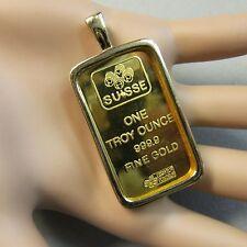 18 quilates chapado oro Nueva Barra del lingote Lady Luck Colgante para caber Onza Oro Fino Lingote