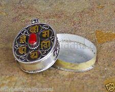 MEDAGLIONE GAU 925er argento sterling SCATOLA AMULETO CORALLO mantra nepal tibet