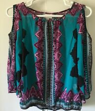 New ECI Women Long-Sleeve Cut Out Shoulder Purple Paisley Printed Blouse Top M