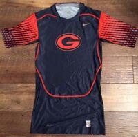 New Nike Men's L Georgia Bulldogs Pro Combat Lockdown 1/2 Sleeve Football Top