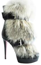 Mint CHRISTIAN LOUBOUTIN Toundra Fur Leather Belted Details Ankle Boots 39/9