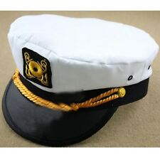 Men & Women's White Yacht Captain Skipper Sailor Boat Cap Hat Costume Unisex dos