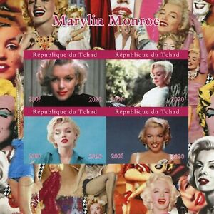 Chad Marilyn Monroe Stamps 2020 MNH Celebrities Famous People Movies 4v IMPF M/S