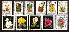 30T1 HONGRIE 11 TIMBRES oblitérés : Roses et bouquets fleuris