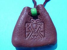 Thunderbird Branded Leather Medicine Pouch Buckskin Necklace Medicine Bag 1045