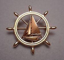 Vintage 14K Yellow & Rose Gold Nautical Brooch - Ship's Wheel & Sailboat
